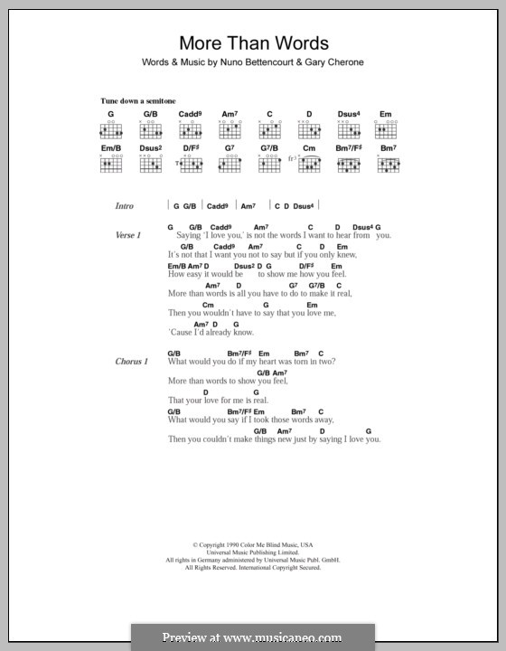 More Than Words (Extreme): Lyrics and chords (Westlife) by Gary Cherone, Nuno Bettencourt