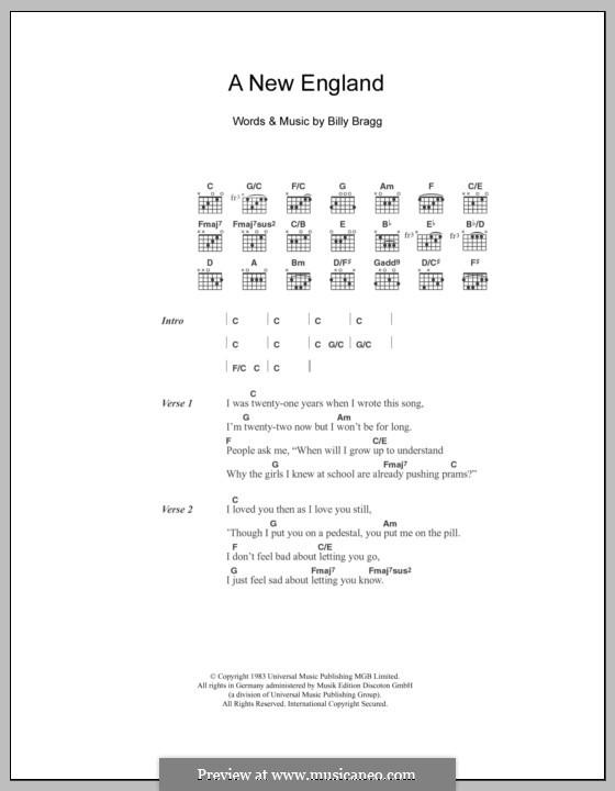 A New England: Текст, аккорды by Billy Bragg