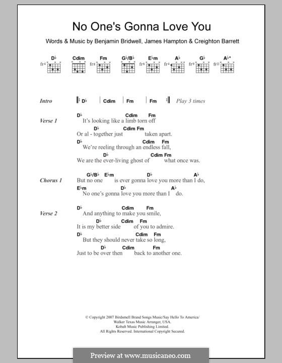 No One's Gonna Love You: Lyrics and chords (Band Of Horses) by Benjamin Bridwell, Creighton Barrett, James Hampton