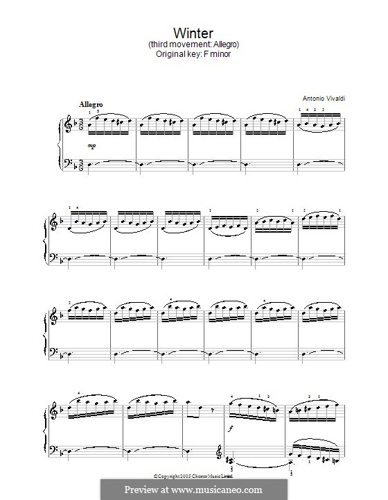 Концерт для скрипки с оркестром No.4 фа минор 'Зима', RV 297: Часть III. Переложение для фортепиано by Антонио Вивальди