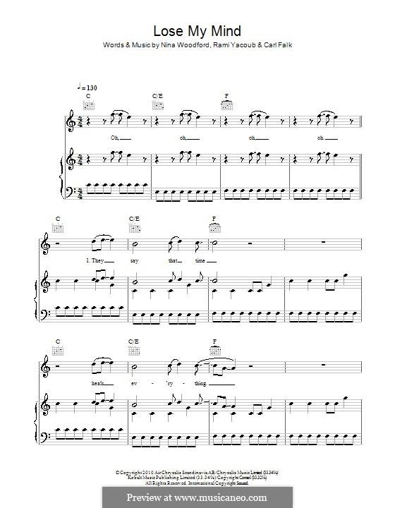 Lose My Mind (The Wanted): Для голоса и фортепиано (или гитары) by Carl Falk, Nina Woodford, Rami Yacoub
