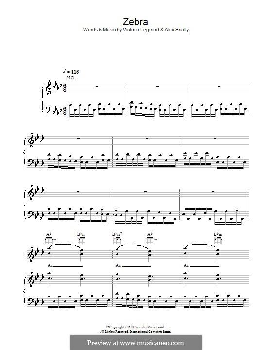 Zebra (Beach House): Для голоса и фортепиано (или гитары) by Alex Scally, Victoria Legrand