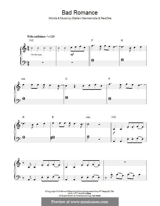 Bad Romance (Lady Gaga): Для фортепиано (легкий уровень) by RedOne, Stefani Germanotta