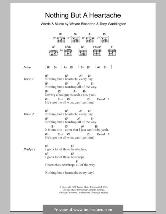 Nothing But a Heartache: Текст, аккорды (The Flirtations) by Tony Waddington, Wayne Bickerton