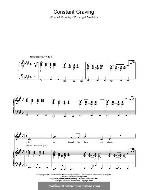 Constant Craving: Для голоса и фортепиано by Ben Mink, k.d. lang