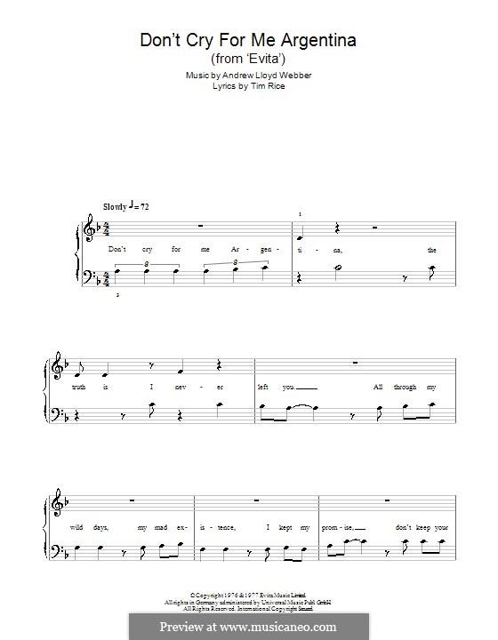 Don't Cry for Me Argentina: Для начинающего пианиста by Andrew Lloyd Webber