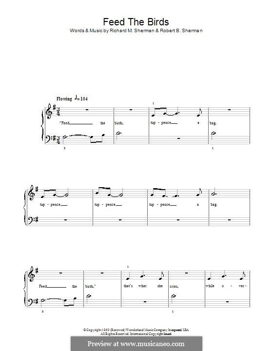 Feed the Birds (Tuppence a Bag): Для фортепиано (легкий уровень) by Richard M. Sherman, Robert B. Sherman