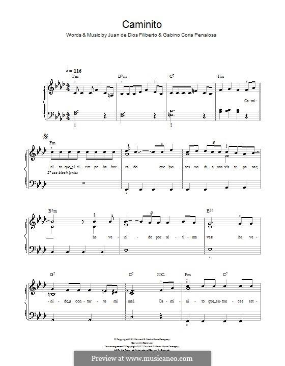 Caminito (The Little Lane): Для фортепиано (легкий уровень) by Gabino Coria Penalosa, Juan de Dios Filiberto