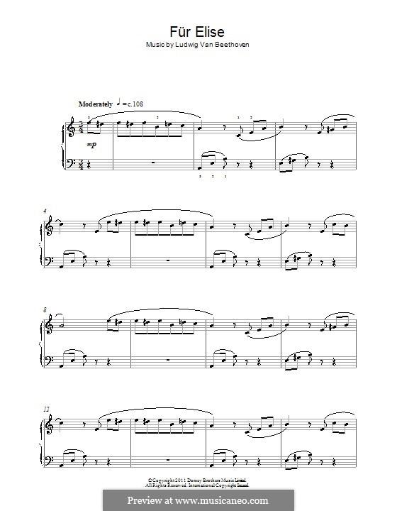 К Элизе, для фортепиано, WoO 59: С аппликатурой by Людвиг ван Бетховен