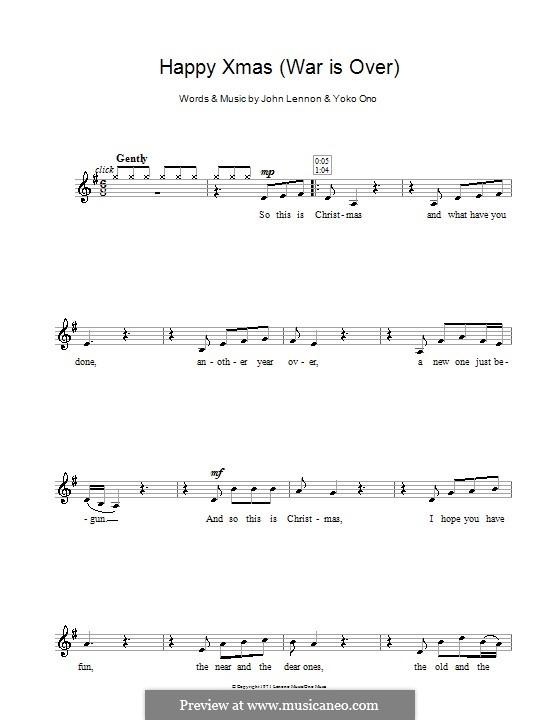 Happy Xmas (War Is Over): Для кларнета by John Lennon, Yoko Ono