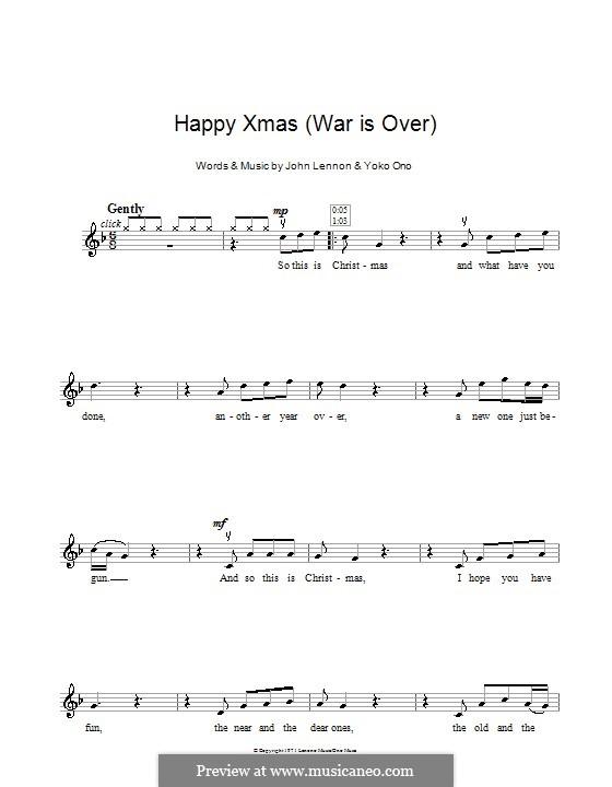 Happy Xmas (War Is Over): Для скрипки by John Lennon, Yoko Ono