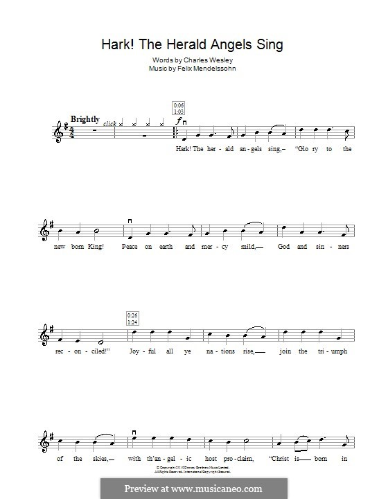 Hark! The Herald Angels Sing, for Solo Instrument: Для скрипки by Феликс Мендельсон-Бартольди