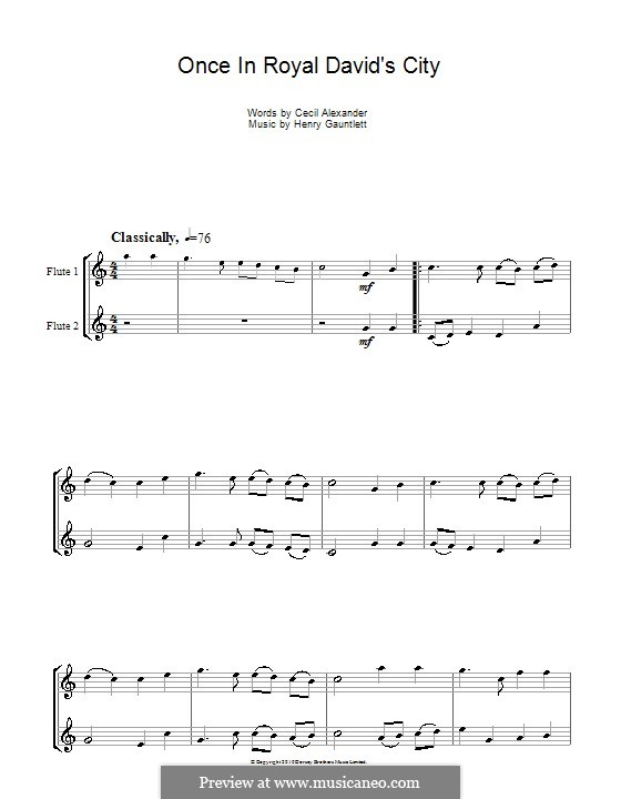 Once in Royal David's City: For flute by Henry John Gauntlett