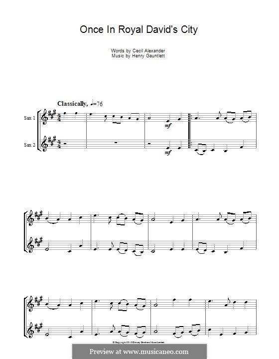 Once in Royal David's City: Для альтового саксофона by Henry John Gauntlett