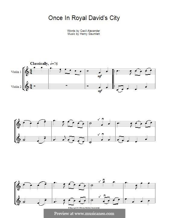 Once in Royal David's City: Для скрипки by Henry John Gauntlett