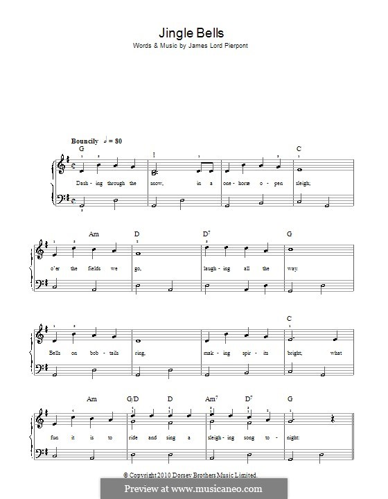 Jingle Bells, for Piano: Легкая версия для фортепиано (with lyrics) by James Lord Pierpont