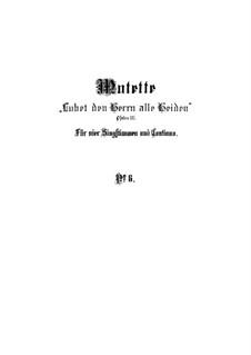 Lobet den Herrn alle Heiden, BWV 230: Партитура by Иоганн Себастьян Бах
