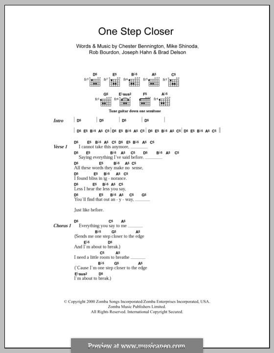 One Step Closer (Linkin Park): Текст, аккорды by Brad Delson, Charles Bennington, Joseph Hahn, Mike Shinoda, Rob Bourdon