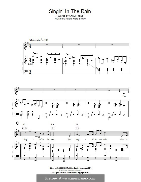 Singin' in the Rain (Gene Kelly): Для голоса и фортепиано (или гитары) by Nacio Herb Brown