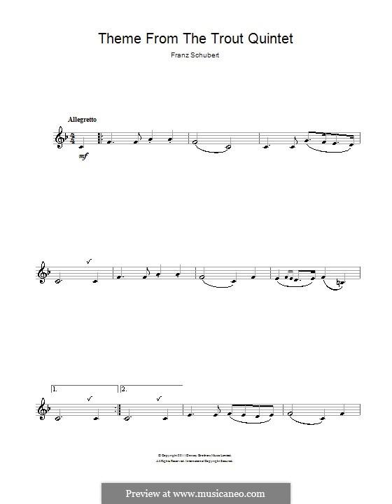 Квинтет для струнных и фортепиано 'Форель', D.667 Op.114: Часть IV (Тема). Версия для кларнета by Франц Шуберт