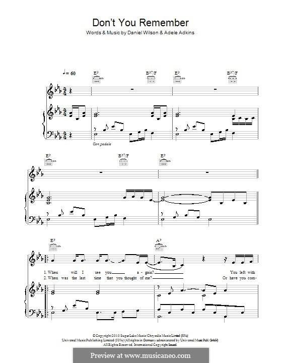 Don't You Remember: Для голоса и фортепиано (или гитары) by Adele, Daniel Wilson