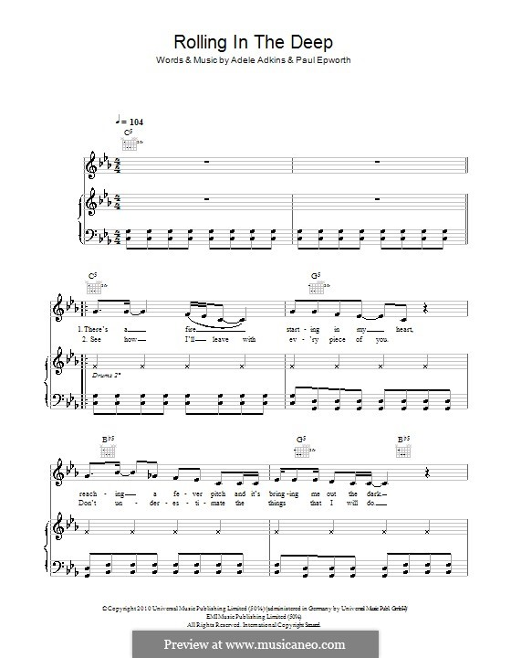 Rolling in the Deep: Для голоса и фортепиано (или гитары) by Adele, Paul Epworth