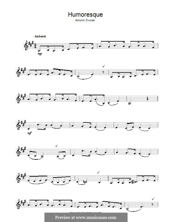 Юморески, B.187 Op.101: No.7, для кларнета by Антонин Дворжак