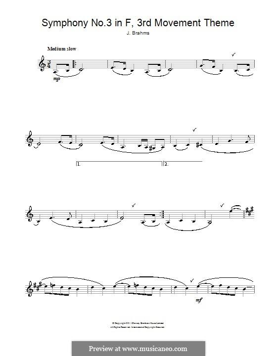Часть III: Тема. Версия для кларнета by Иоганнес Брамс