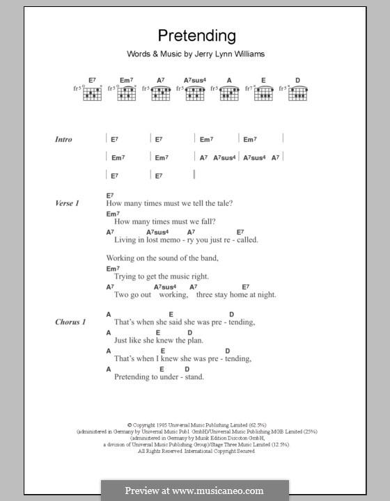 Pretending (Eric Clapton): Текст и аккорды by Jerry Lynn Williams