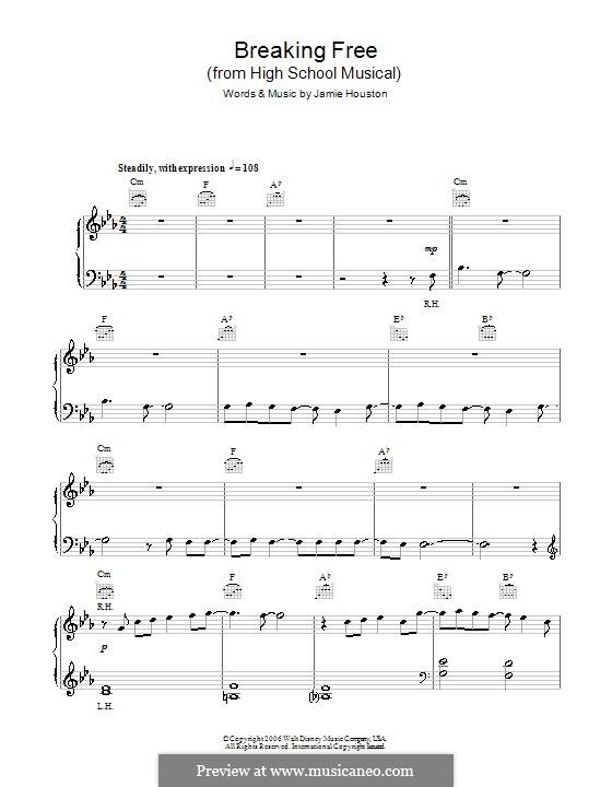 Breaking Free (from High School Musical): Для фортепиано (легкий уровень) by Jamie Houston