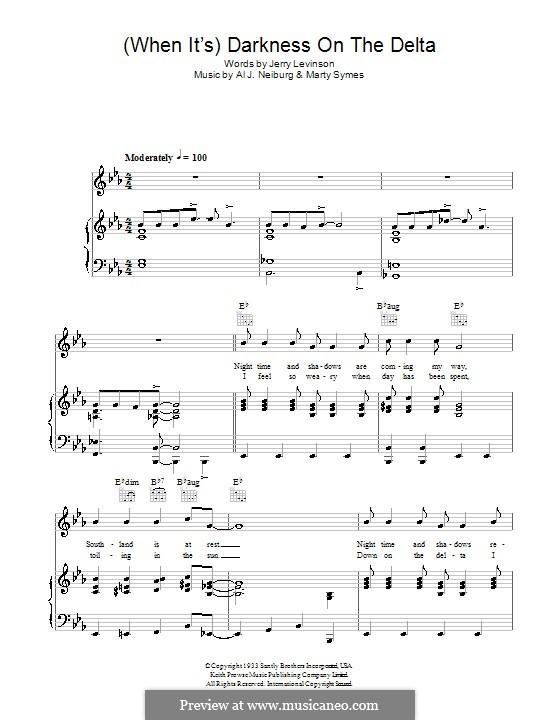 When It's / Darkness on the Delta: Для голоса и фортепиано (или гитары) by Al J. Neiburg, Marty Symes