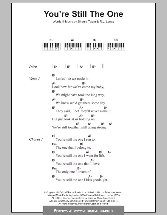 You're Still the One: Текст и аккорды для фортепиано by Robert John Lange, Shania Twain