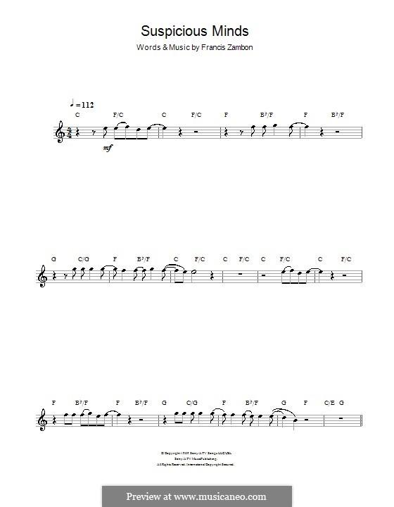 Suspicious Minds (Elvis Presley): Для флейты by Francis Zambon