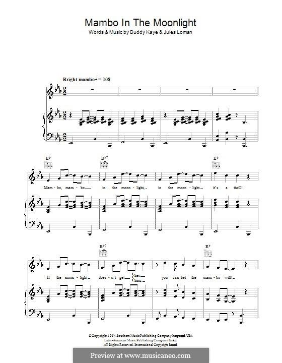 Mambo in the Moonlight (Ireen Sheer): Для голоса и фортепиано (или гитары) by Buddy Kaye, Jules Loman