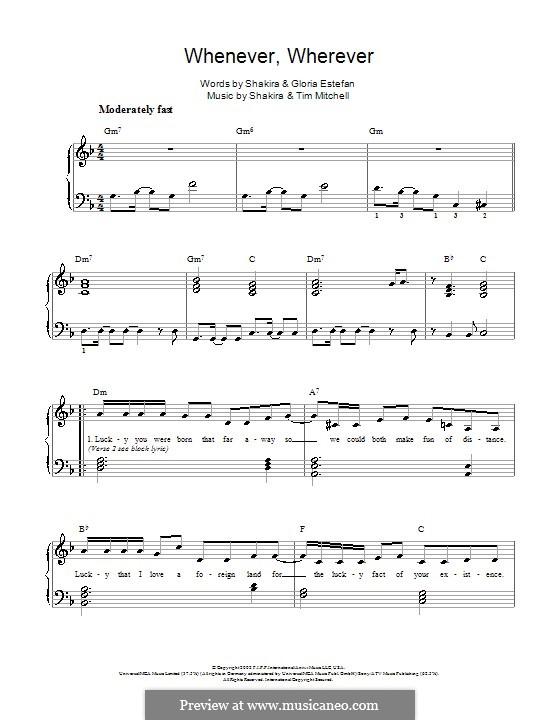 Whenever, Wherever: Для фортепиано (легкий уровень) by Shakira, Tim Mitchell