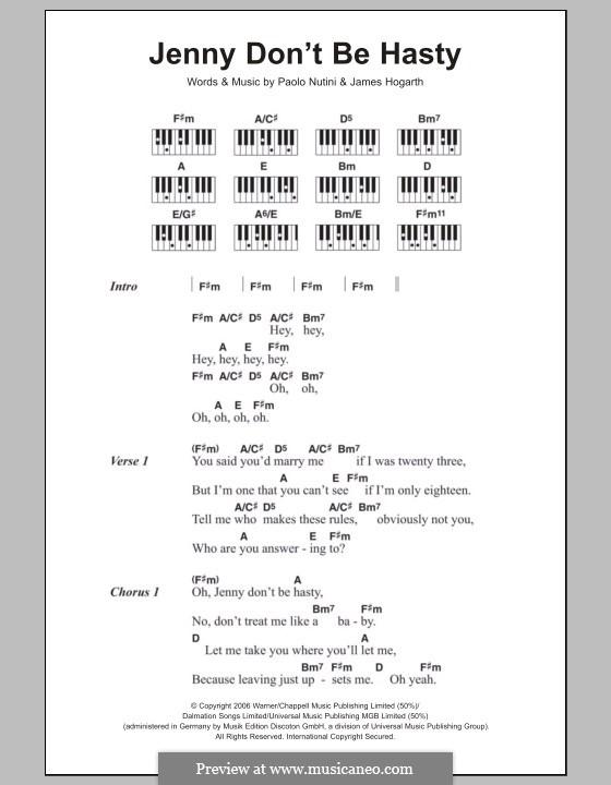 Jenny Don't Be Hasty: Текст и аккорды для фортепиано by Jimmy Hogarth, Paolo Nutini
