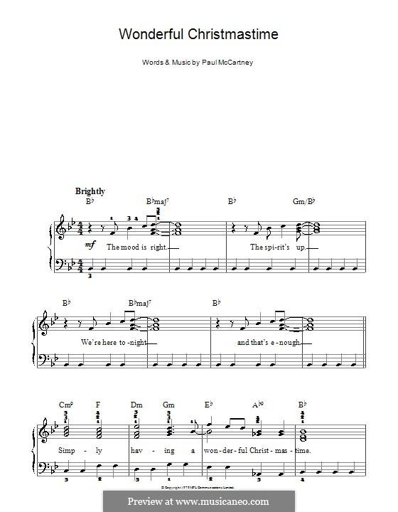 Wonderful Christmastime: Для фортепиано (легкий уровень, с аппликатурой) by Paul McCartney