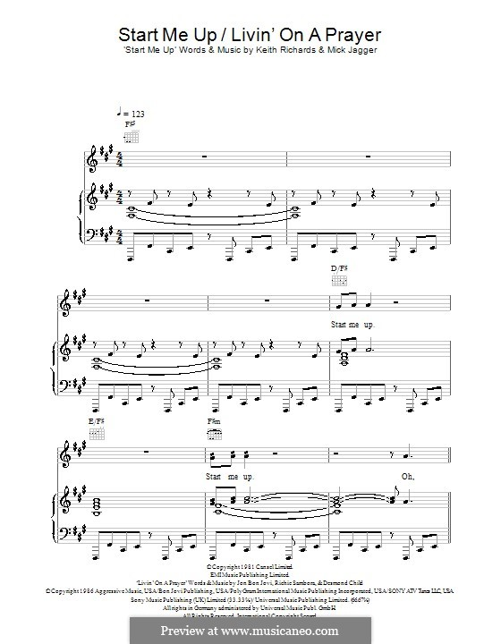 Start Me Up/ Livin' on a Prayer: Для голоса и фортепиано (или гитары) by Desmond Child, Jon Bon Jovi, Keith Richards, Mick Jagger, Richie Sambora