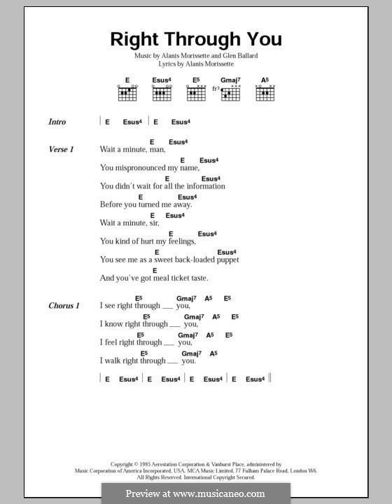 Right Through You: Текст, аккорды by Alanis Morissette, Glen Ballard