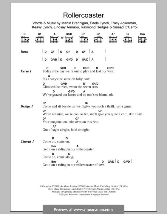 Rollercoaster (Bewitched): Текст и аккорды by Edele Lynch, Keavy Lynch, Lindsay Armaou, Martin Brannigan, Raymond Hedges, Sinead O'Carroll, Tracy Ackerman
