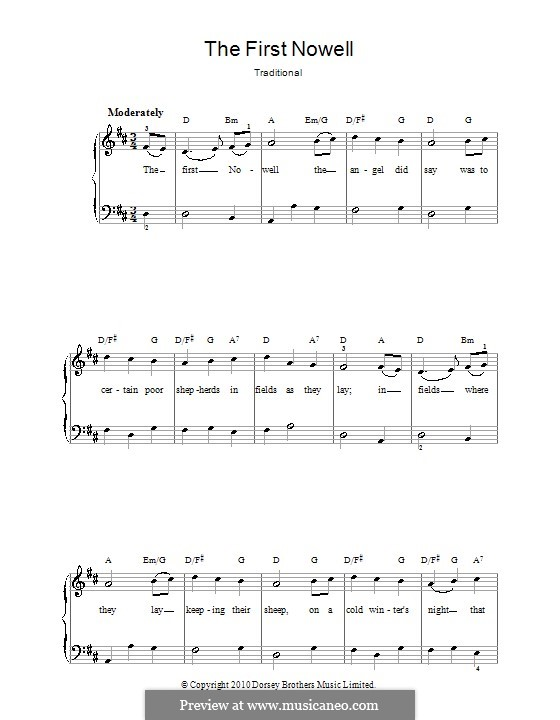The First Nowell (The First Noël), for Piano: Easy version by folklore