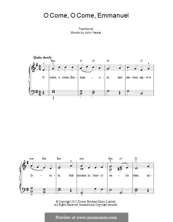 O Come, O Come, Emmanuel: Для фортепиано (легкий уровень, с аппликатурой) by folklore