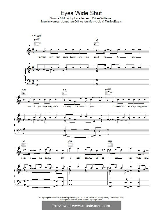 Eyes Wide Shut (JLS): Для голоса и фортепиано (или гитары) by Aston Merrygold, Jonathan Gill, Lars Jensen, Marvin Humes, Oritsé Williams, Tim McEwan