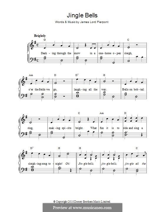 Jingle Bells, for Piano: Легкая версия для фортепиано (с аккордами) by James Lord Pierpont