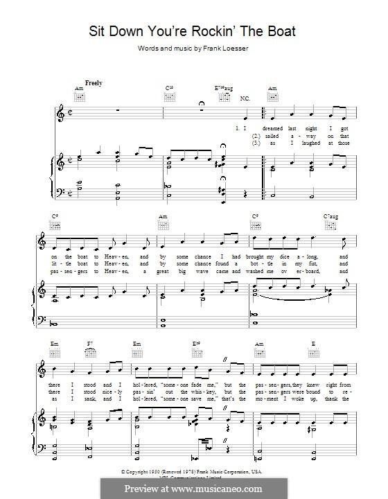 Sit Down, You're Rockin' the Boat: Для голоса и фортепиано (или гитары) by Frank Loesser