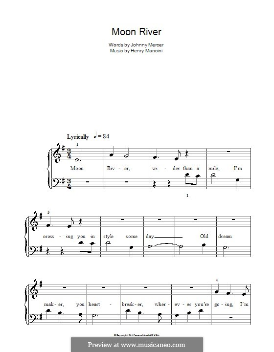 Piano version: Easy notes by Henry Mancini