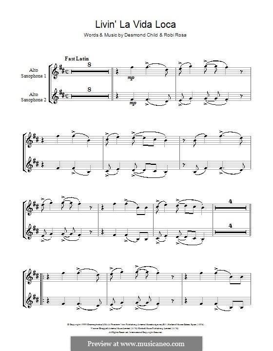 Livin' la vida loca (Ricky Martin): For two alto saxophones by Desmond Child, Robi Rosa