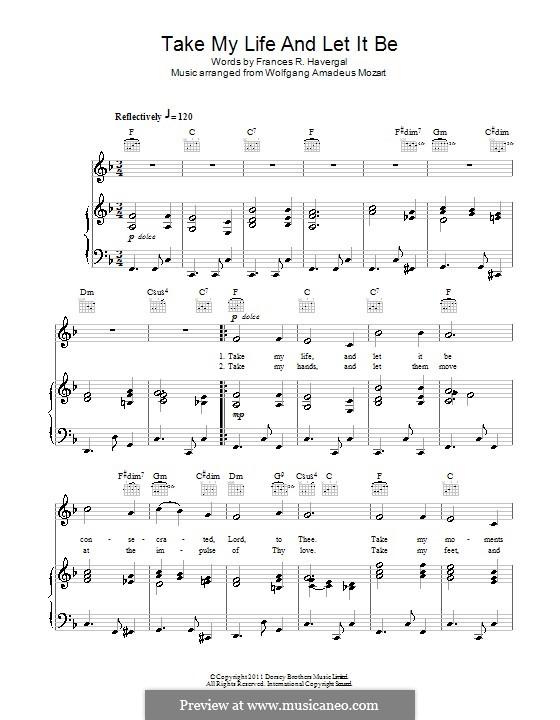 Take My Life and Let It Be: Для голоса и фортепиано (или гитары) by Вольфганг Амадей Моцарт