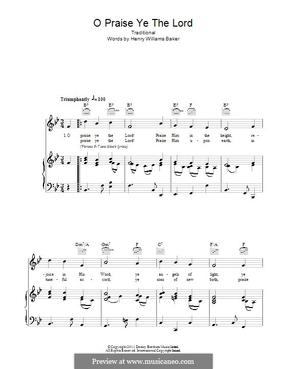 O Praise Ye the Lord: Для голоса и фортепиано (или гитары) by folklore