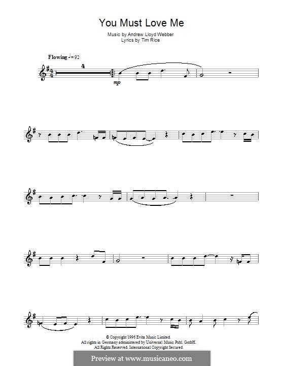 You Must Love Me: Для альтового саксофона by Andrew Lloyd Webber